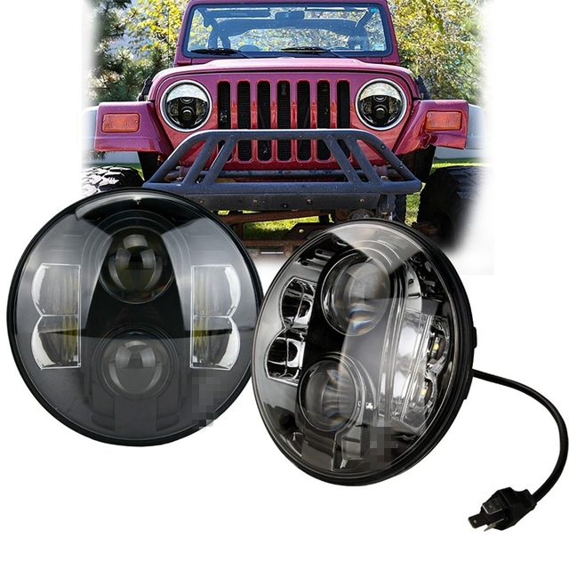 Black 7 Round H6024 Sealed Beam Motorcycle Headlight Dot Approved