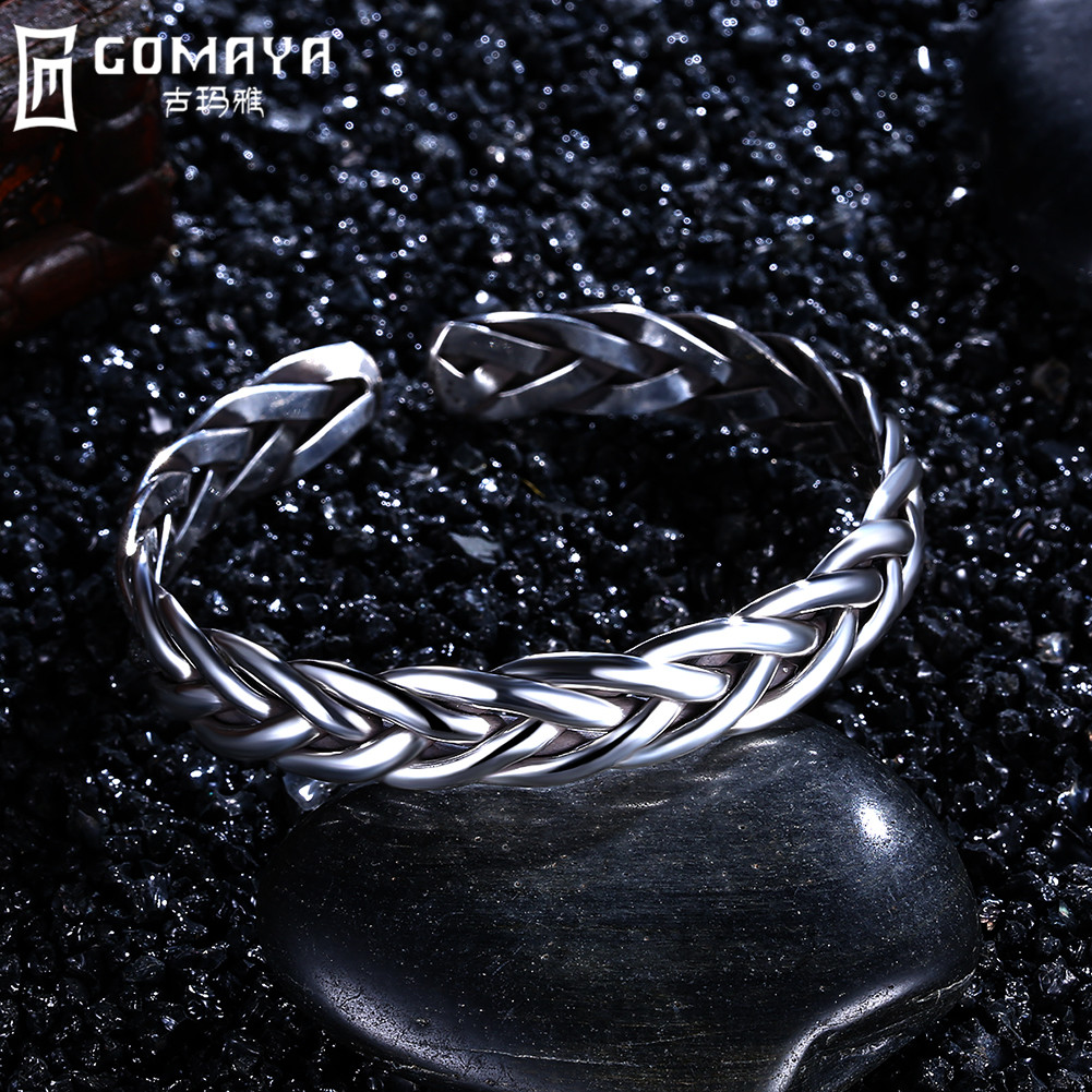 GOMAYA 999 Sterling Silver Bangles Punk Rock Style Cuff Bangle Bracelet for Women Opennable Charm Bracelets Jewelry Gifts Party punk style exaggerated square hollow out conjoined ring cuff bracelet for women