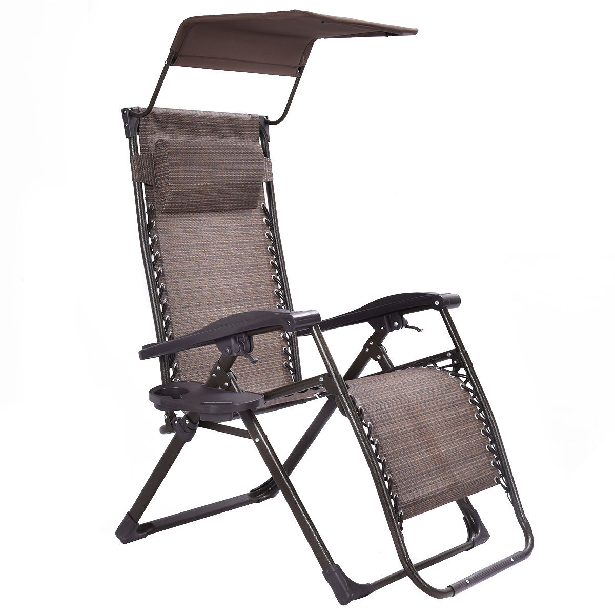 Giantex Foldable Zero Gravity Chair Lounge Patio Garden Outdoor Yard Recliner with Sunshade +Tray Beach Chairs OP3007 carbonized wood outdoor balcony living room lounge chair recliner chairs rocking happy old