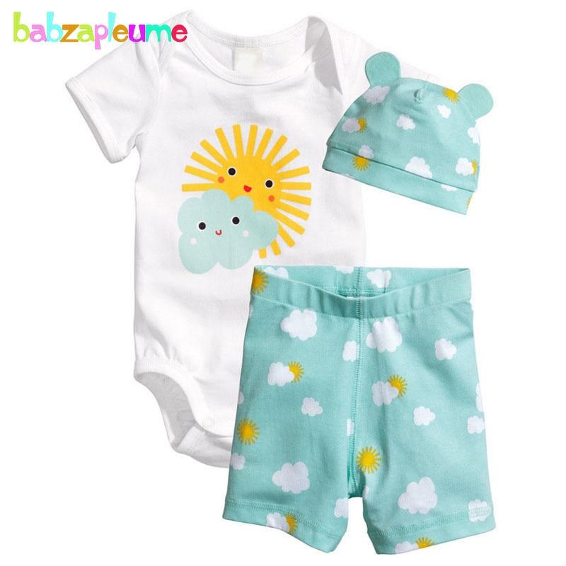 3PCS / 0-18Months / Summer Newborn Jumpsuit Romper Baby Ryggsäck Kläder Pojkar Flickor Bodysuit + Shorts + Hattar Infant Clothing Set BC1090