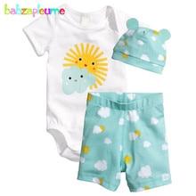 3PCS 0 18Months Summer Newborn Jumpsuit Romper Baby Tracksuit Clothes Boys Girls Bodysuit Shorts Hats Infant