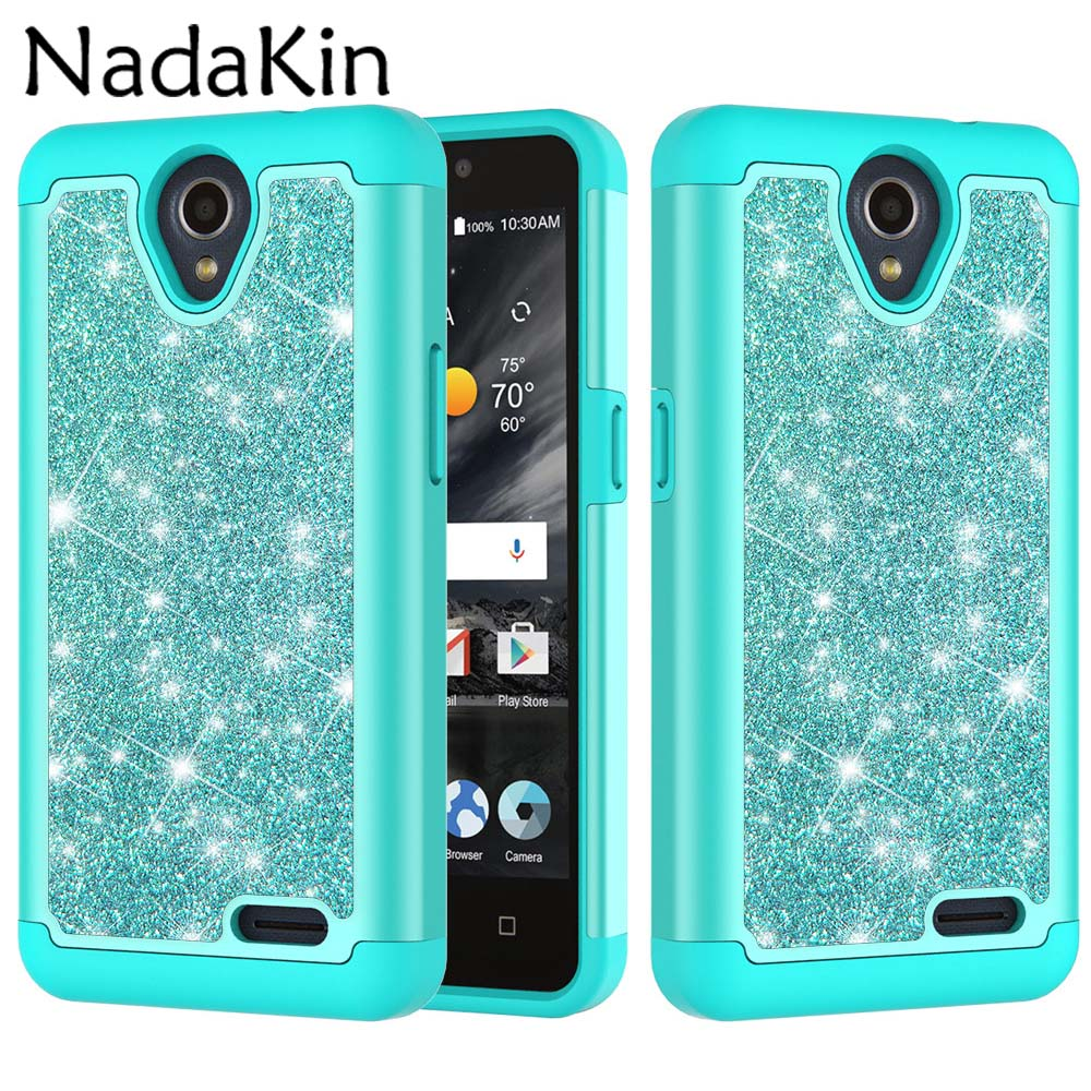2 in 1 Glitter Shockproof Case for ZTE N9136 Prestige 2 Flicker Bling Hard PC Plastic Silicone Protective Phone Cover Shell