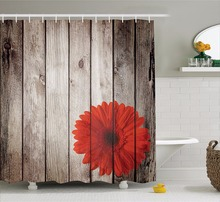 Captivating High Quality Arts Shower Curtains Wood Series Gray Wood   Board Red  Chrysanthemum Bathroom Decorative Modern Shower Curtains