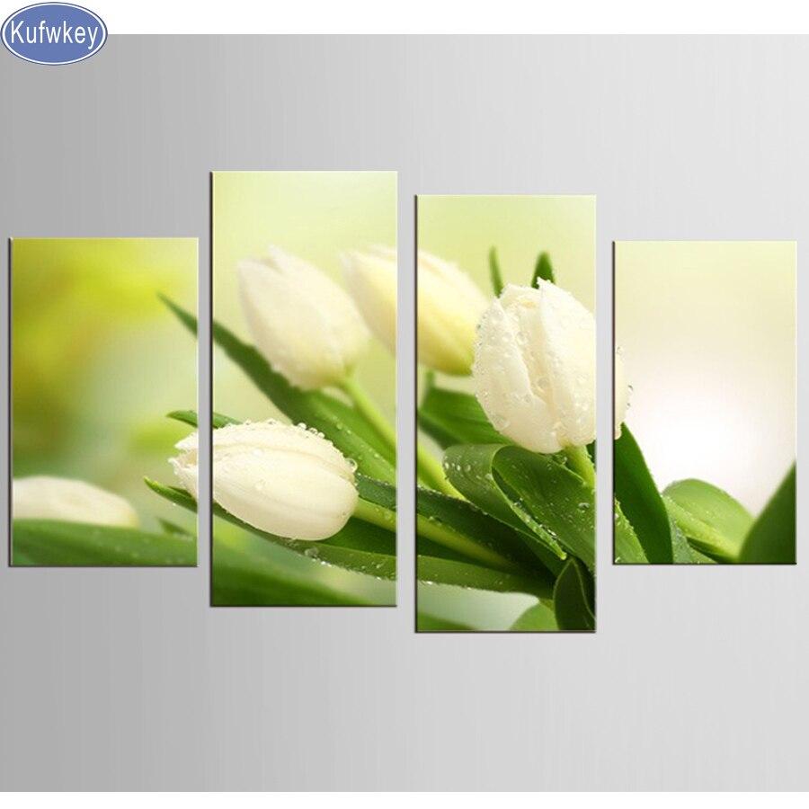 4 pcs Diamant-Peinture blanc rose Point De Croix Complet diamant broderie fleurs tulip diamant Mosaïque motif, broderie perlée art