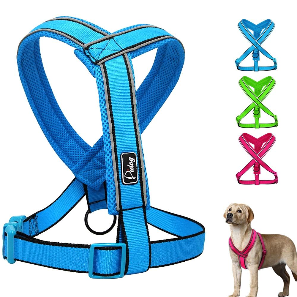 Nylon Reflective Soft Mesh Padded Dog Harness Vest For Medium Large Dog Pitbull Adjustable S M L XL 3 Colors Pink Green Blue