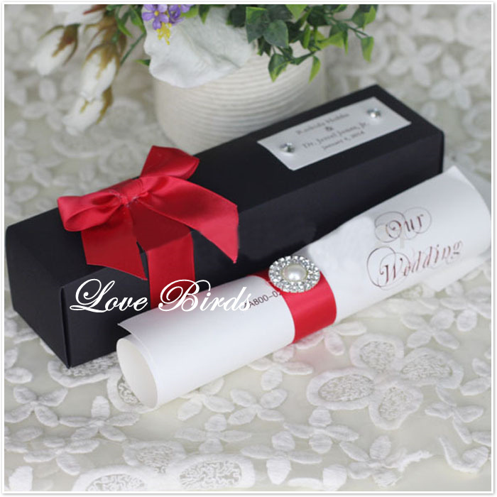 New coming black scroll wedding invitation card with red ribbon