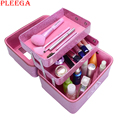 PLEEGA New 2017 Women Professional Makeup Case Patent Leather 3CE Make Up Box Big Cosmetic Bags Cases Organizer Beauty Bags Mac