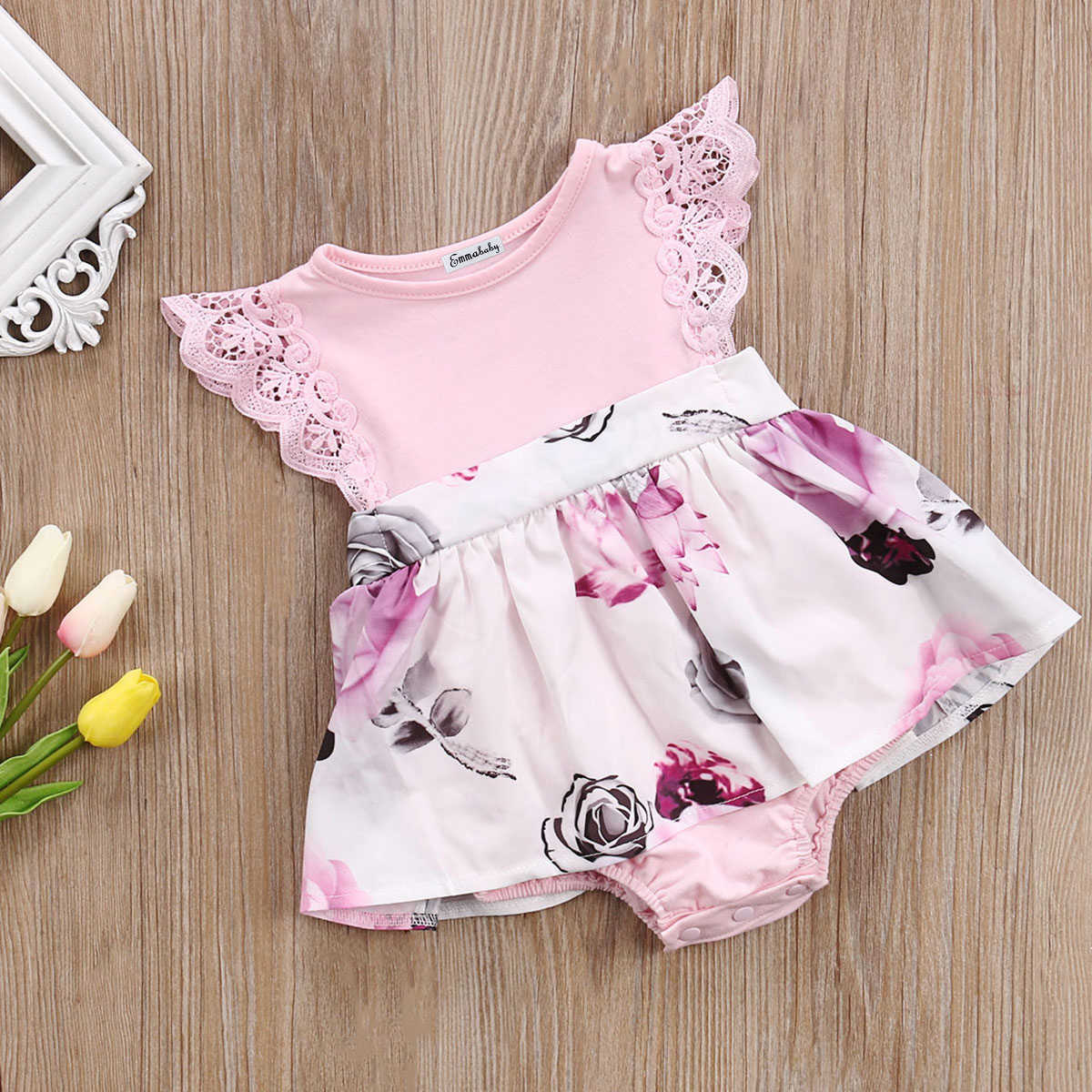 48b2b66c208 ... Cute Toddler Kids Baby Girls Sisters Matching Clothes Outfits Baby  Little Big Sisters Floral Tutu Rompers