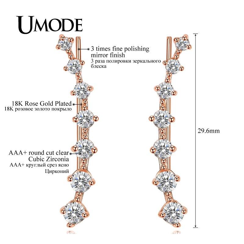 UMODE Mode Star Örhänge för kvinnor Rose Vitt Guld Lång Krok - Märkessmycken - Foto 4
