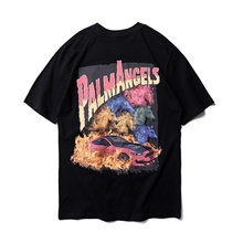 2019 New Palm Angels T-shirt Skateboard Striped Palm Angels Top Tee Men Women Casual Black Green Palm Angels T Shirts palm angels головной убор