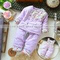 Envío gratis nuevo 2013 primavera otoño ropa del bebé recién nacido calientes wadded chaqueta del bebé ropa de calle pantalones tres pedazos fijados