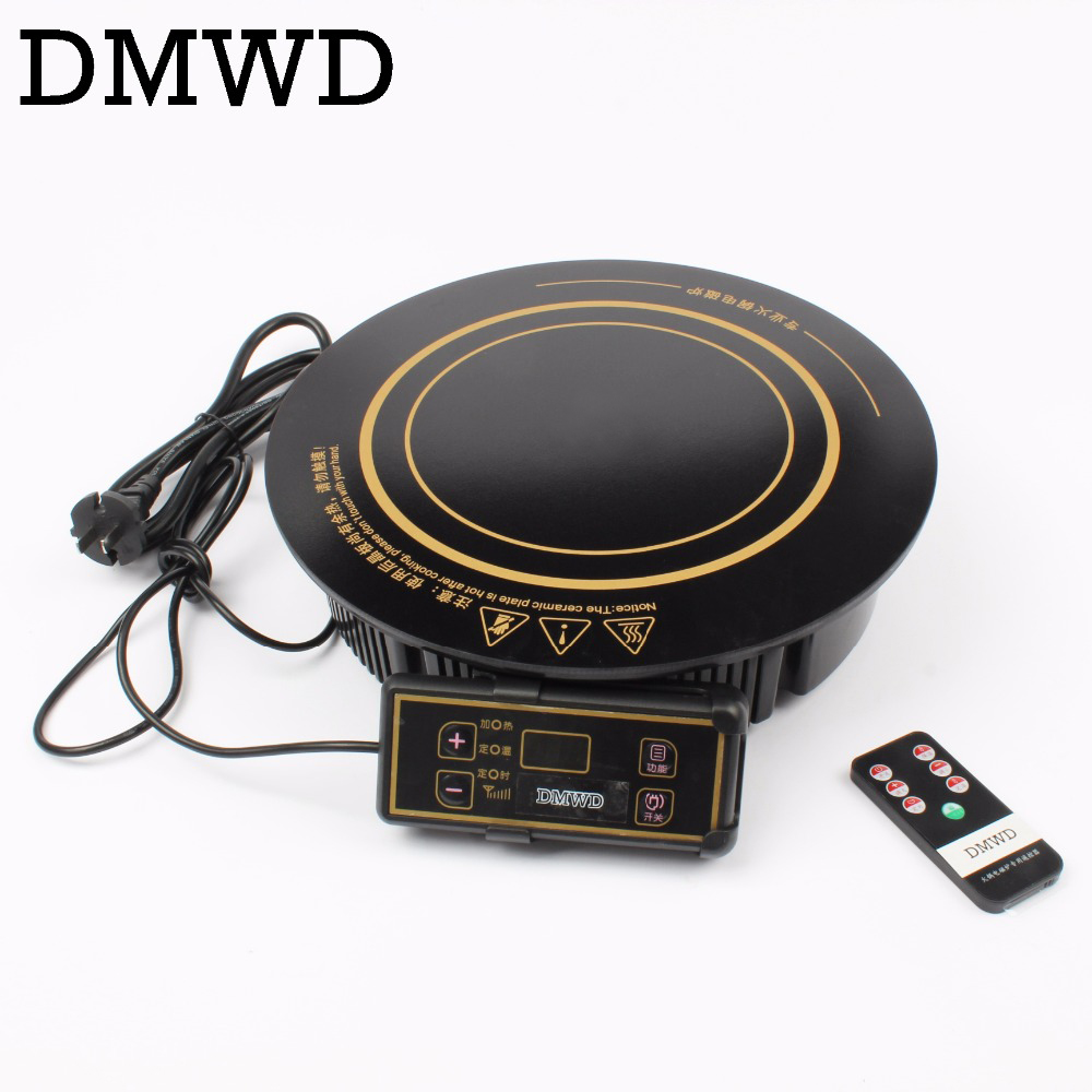 DMWD Round electric magnetic induction cooker embedded wire control Burner wireless remote control hot pot cooktop hotpot stove dmwd electric induction cooker waterproof high power button magnetic induction cooker intelligent hot pot stove 110v 220v eu us