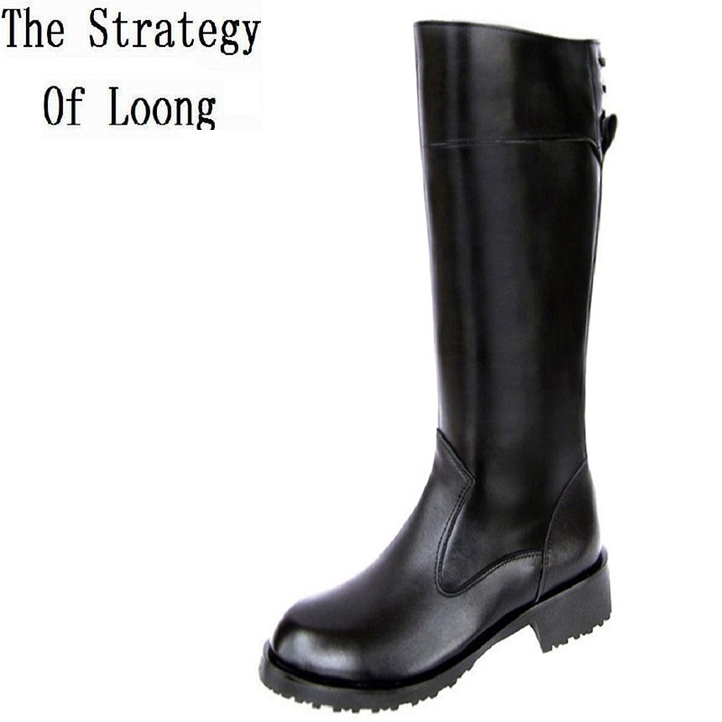 Men Winter Genuine Leather Flat Heel Long Boots Korean Style Round Toe Warm Full Grain Leather Comfortable Fashion Long Boots riding winter boots feathers 2015 new fashion korean metal decoration genuine leather elevator pull on pure color round toe