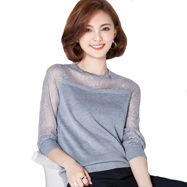 Women Sweater 2016 New Fashion Casual Spring Autumn Patchwork Lace Office Pullover Slim Knitted Sweaters Gray/Black/Wine A945