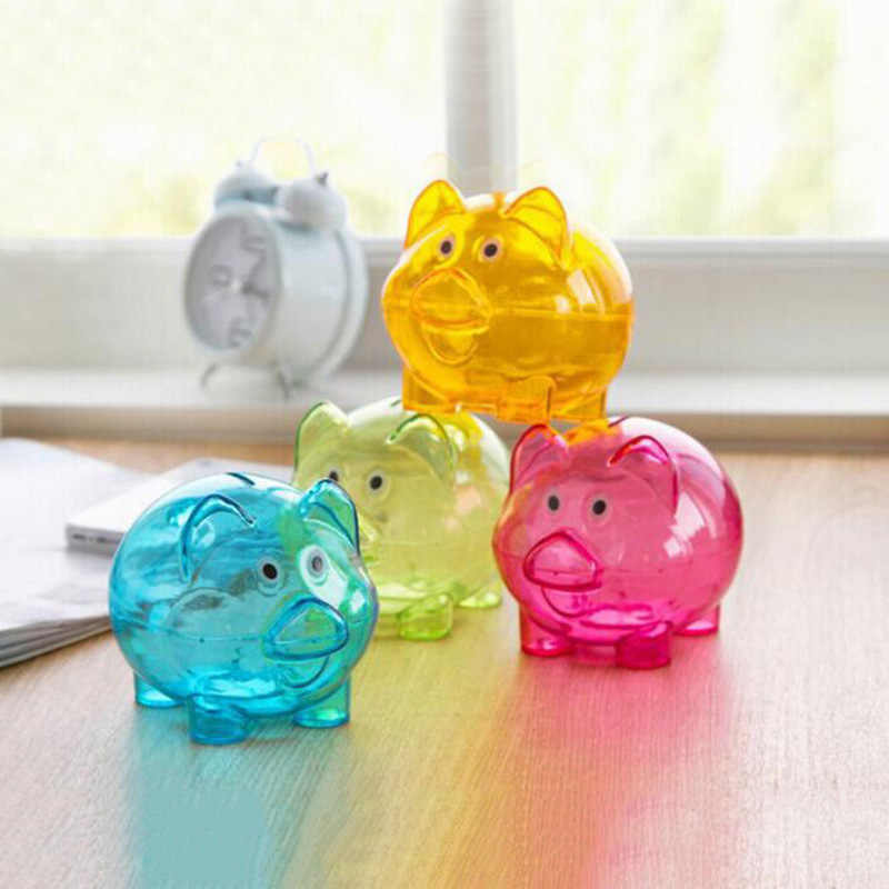 Children Piggy Bank Transparent Plastic Money Saving Box Case Coins Piggy Bank Cartoon Pig Shaped Coin Case Save Money Box Gift