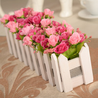 30cm wooden fence flower simulation Diamond Rose Silk decorative flowers gifts Home Furnishing suit artificial flowers cheap