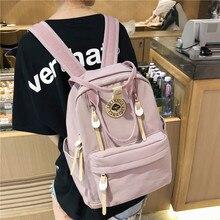 Ladies Folding Backpack Women Canvas Brand Solid Zipper Black Retro School Backpacks For Teenagers Mochila Bagpack