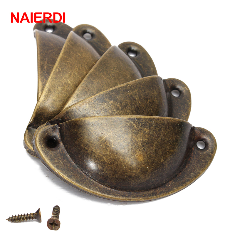 NAIERDI 20PCS Retro Metal Kitchen Drawer Cabinet Door Handle Furniture Knobs Hardware Cupboard Antique Brass Shell Pull Handles 4pcs naierdi c serie hinge stainless steel door hydraulic hinges damper buffer soft close for cabinet kitchen furniture hardware