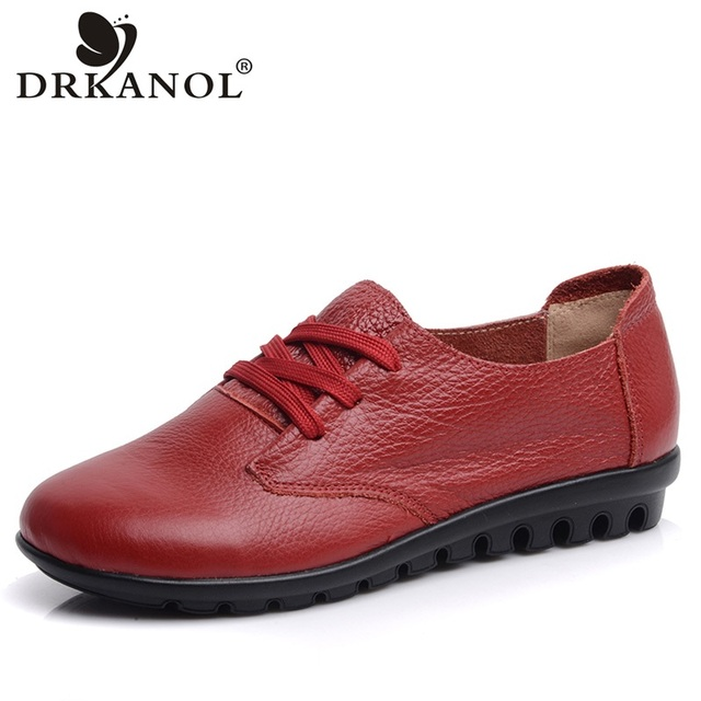 DRKANOL Women Flat Shoes Genuine leather Round Toe Women Casual Shoes Autumn Winter Short Plush Casual Flats Warm Shoes Woman