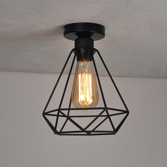 FGHGF Vintage Diamant Forme Cage À Oiseaux De Fer Plafond Lampe ...