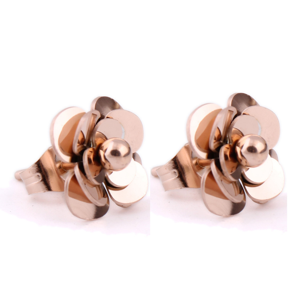 Fashion Women Earrings 316LStainless Steel Rose Gold Flower Stud Earrings 8