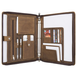 Handmade Genuine Leather A4-Sized 3-Ring Binder Portfolio Folder, Personalise Business Padfolio Case Documents Organizer
