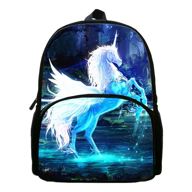 Special Offer Hot Sale Oxford 12-Inch Prints Mythical Animals Babys School Bags Horse Children Small Backpacks Kids SchoolBag