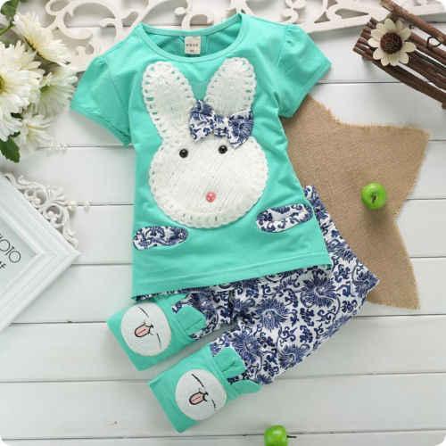 Коллекция 2016 г.; хлопковая одежда для маленьких мальчиков и девочек с рисунком из мультфильма милый кролик Банни топы с короткими рукавами футболка + штаны; комплект со штанами; комплект 1-