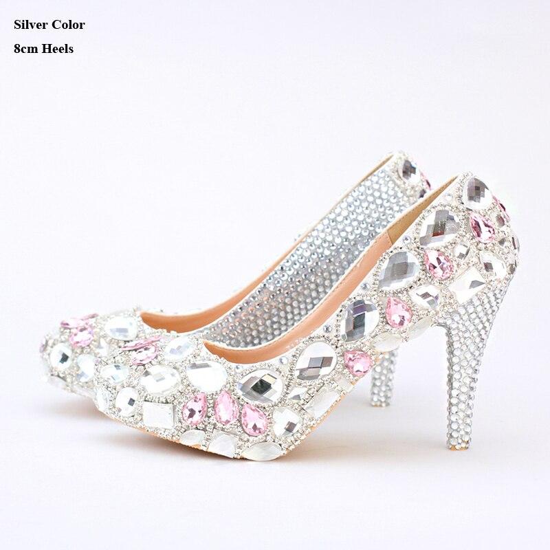 71cdc37977f6d Silver Rhinestone Wedding Shoes Handmade Bridal Shoes Pink Crystal ...