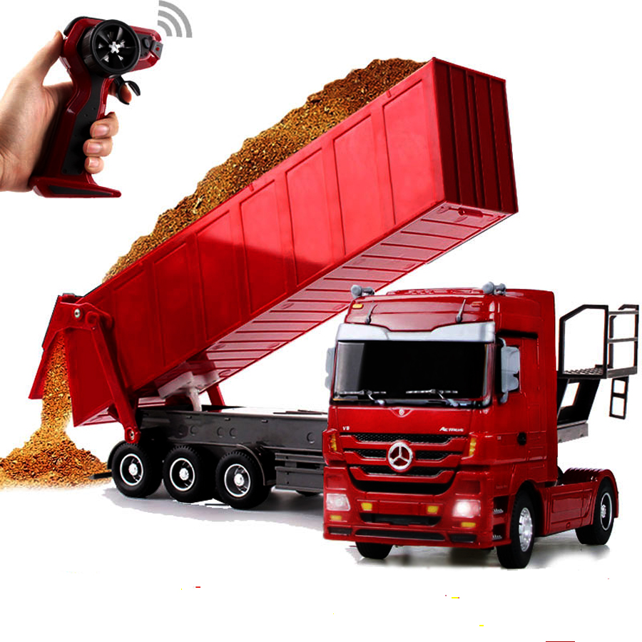 Buy RC Dumper Truck 1:32 Remote Control Lorry Lorry Auto Lift Truck LED light Container Vehicle Toy For Kids Birthday Gift for $56.75 in AliExpress store