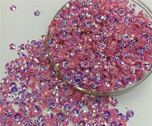 Free shipping 30g(2000pcs)wholesale 4mm Deep Cup Golden platting Pink color loose sequins Paillettes sewing Wedding craft DIY