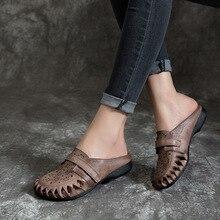 Г. женские летние туфли из натуральной кожи с цветочным узором на низком каблуке женские сандалии шлепанцы ручной работы шлепанцы S55218