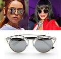 Más nuevo diseñador Cat Eye Sunglasses Women a la moda marca de lujo del Metal gafas de sol de marco para la mujer Oculos gafas de sol