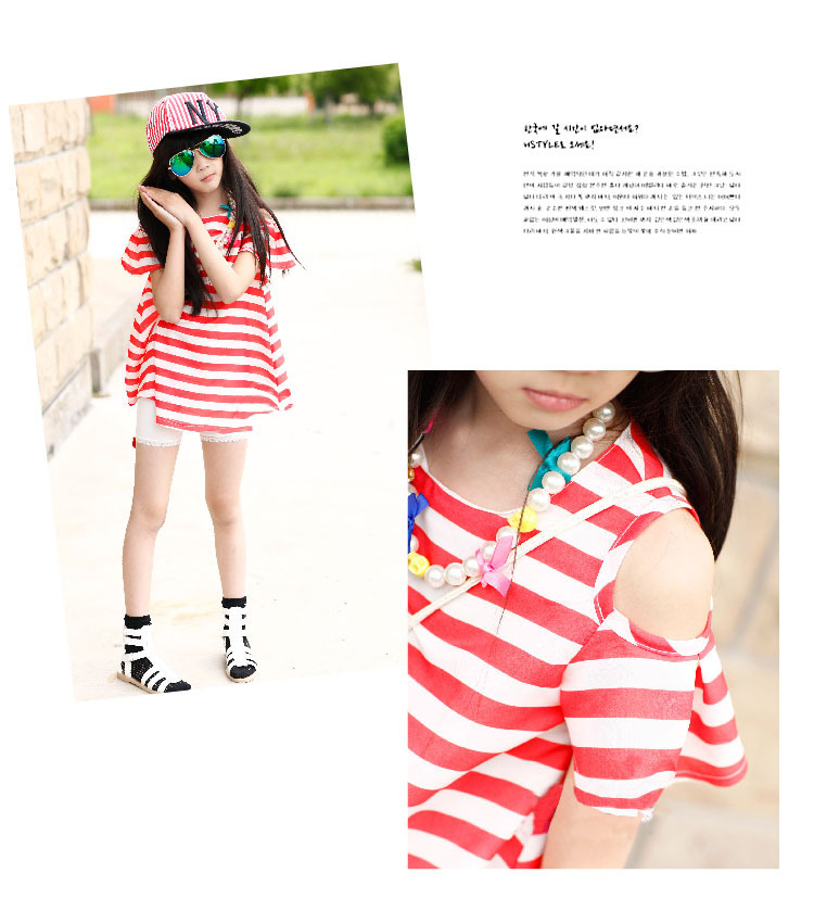 Teenage Girls Fashion Tops 2017 Summer Girl's Chiffon T-Shirt with Stripes Short-sleeve Open Shoulder T-shirts Children Tees