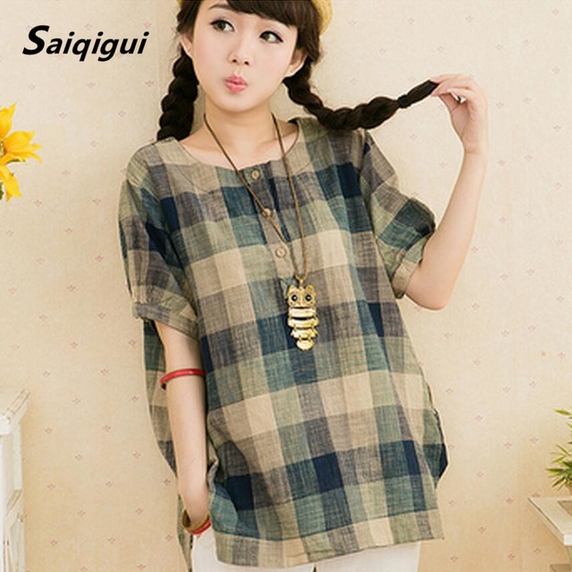 27f5d556327 Saiqigui Summer Style Women Blouses Casual Loose Plus Size Cotton Linen  Blouse short Sleeve Shirts Women