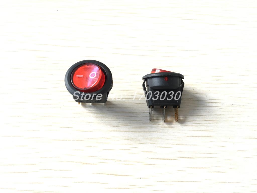 10x Red Light Illuminated ON-OFF SPST Round Rocker Switch 6A/250V 10A/125V AC 10 pcs red 2 pin spst off on n o round momentary push botton switch 1a 250v ac