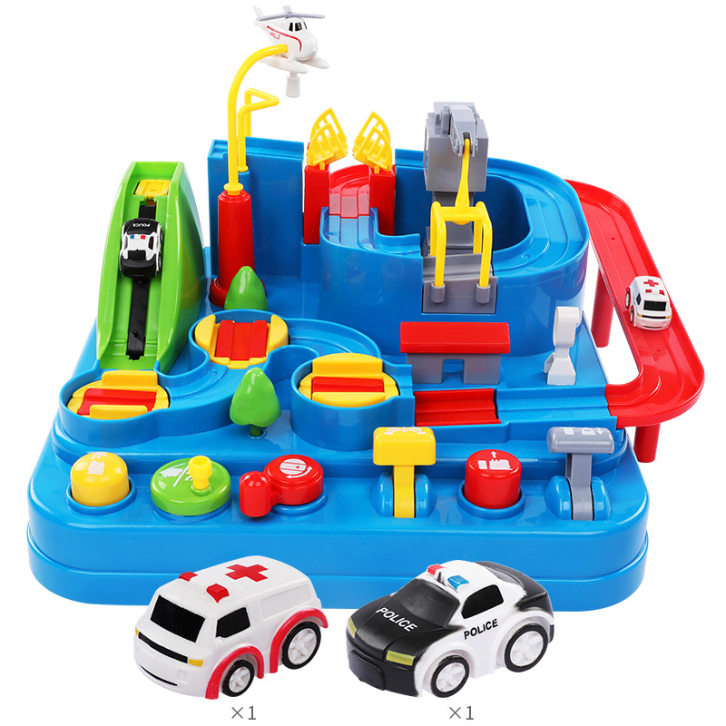 Car Adventure rush through customs children's toy Inertial vehicle track toys Railway car puzzle set toys Gifts for children