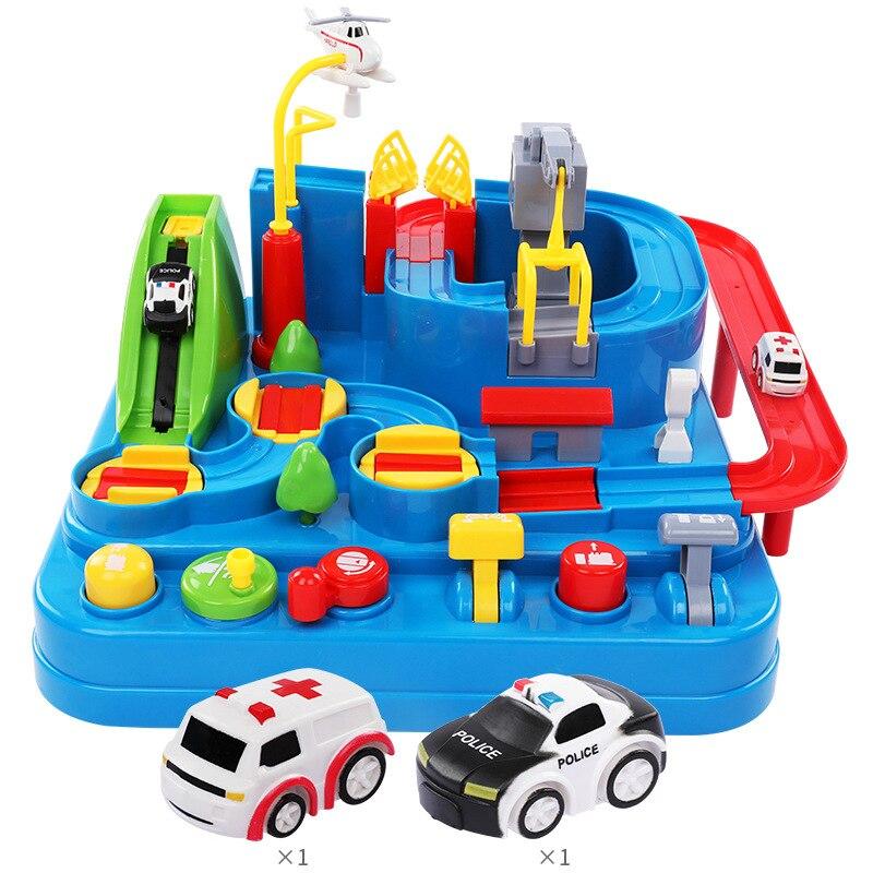 Voiture aventure se précipiter à travers les douanes enfants jouet inertiel véhicule piste jouets chemin de fer voiture puzzle set jouets cadeaux pour enfants