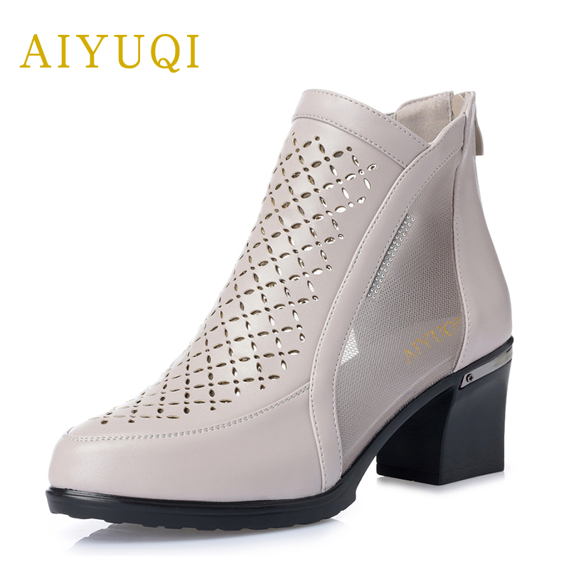 Ingenious Aiyuqi2019new Genuine Leather Sandals Ladies High Heel Party Shoes For Women In Beige Platform Sandals Fashion Mesh Shoes Female Heels Women's Shoes