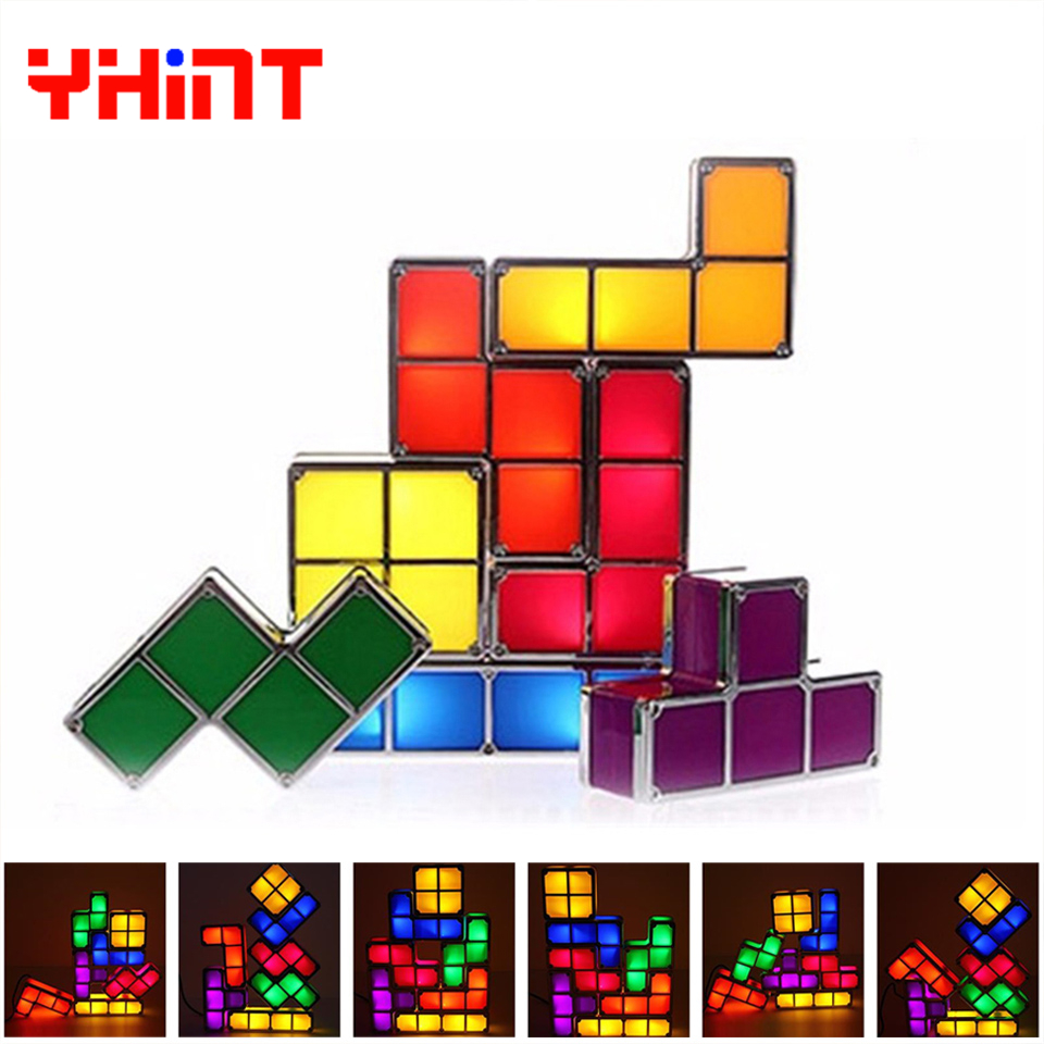 DIY Tetris lamp Puzzle Light Stackable LED Desk Lamp Constructible Block Night Light Retro Game Tower Baby Colorful Brick Toy цены