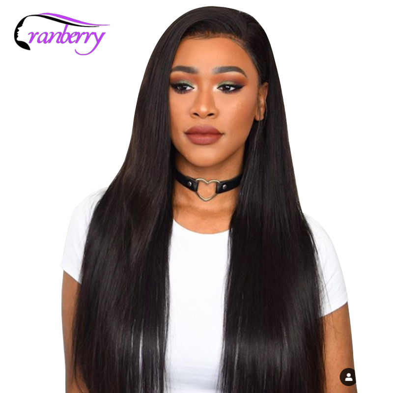 Cranberry Hair 4X4 Closure Wig Remy Brazilian Hair Straight Lace Front Wig 10 24 Inch Lace