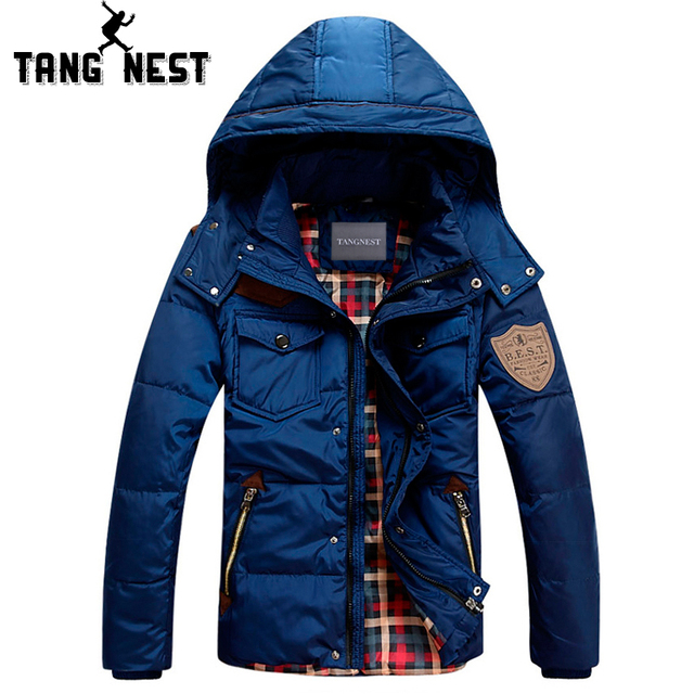 TANGNEST 2017 Men Duck Down Winter Coat  Detachable Waterproof  Winter Coat Men Warm 90% Down Jacket Coat Plus size MWY073