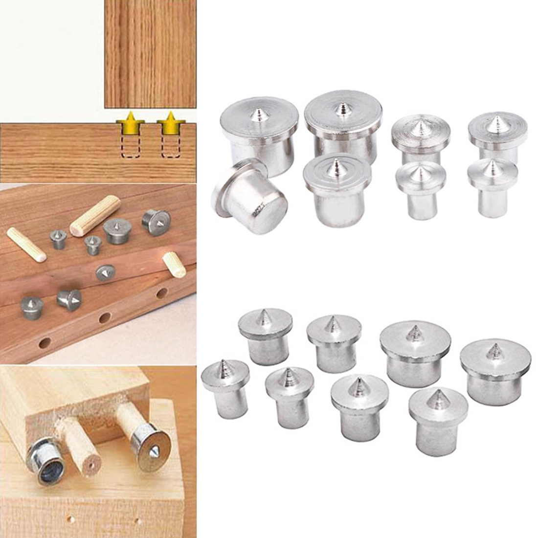 8pcs/set Dowel Tenon Center Set Woodworking Top Locator Roundwood Punch Wooden Furniture Centering Point