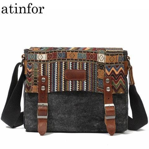 Bolsas de Fivela de Cinto Bolsas para Mulher Estilo Étnico Vintage Lona Mensageiro Quadrado Pequeno Crossbody Hanbags