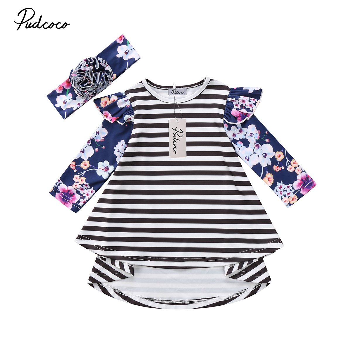 New Baby Girl Kid Child Floral Butterfly Party Princess Dress Long Sleeve Striped Ruffle Dress Winter Clothes Handband