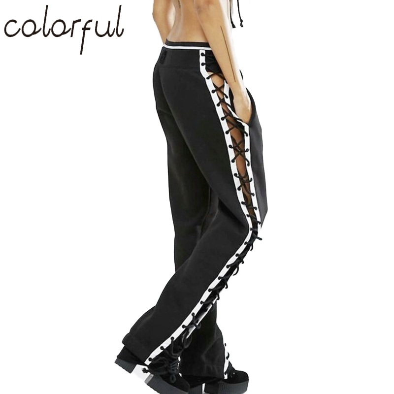 COLORFUL Women Fashion Casual Bandage Harem Pants Black White Patchwork Loose Hip Hop Punk Trousers Sweatpants S-L
