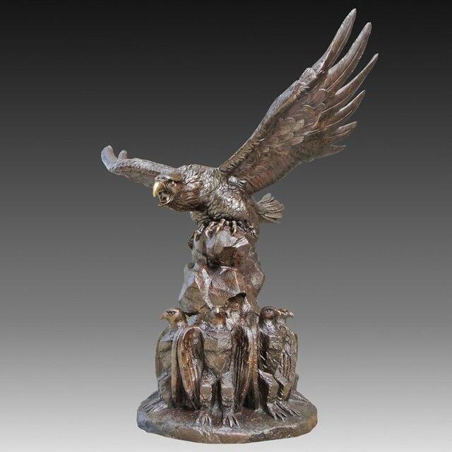 Leben Größe Langlebig Kunstwerke Glede Vintage Bronze Adler Fliegen