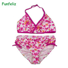 Funfeliz 6-14 Years Girls Bikini Floral Two Pieces Swimsuit 2018 Cute Print Kids Bathing Suits Girl Swimwear