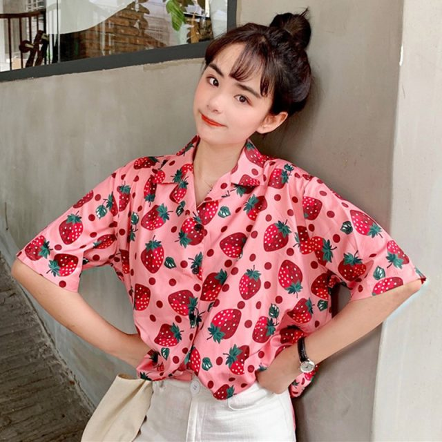 2019 New Women Blouses Holiday Casual Short Sleeve Tops Ladies Strawberry Printed Shirt Korean Summer Fashion Women Clothing 15