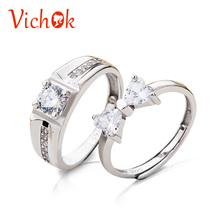 VICHOK Sweet Bowknot 925 Sterling Silver Lover Ring Set Women Men Gifts Resizable Fashion Jewelry Statement Engagement Rings